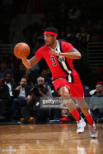 Bradley Beal of the Washington Wizards handles the ball against the Utah Jazz on February 18 2016 at Verizon Center in Washington DC NOTE TO USER...
