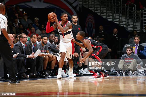 Bradley Beal of the Washington Wizards handles the ball against the Toronto Raptors on November 2 2016 at Verizon Center in Washington DC NOTE TO...