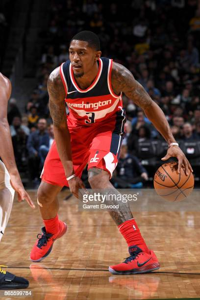 Bradley Beal of the Washington Wizards handles the ball against the Denver Nuggets on October 23 2017 at the Pepsi Center in Denver Colorado NOTE TO...