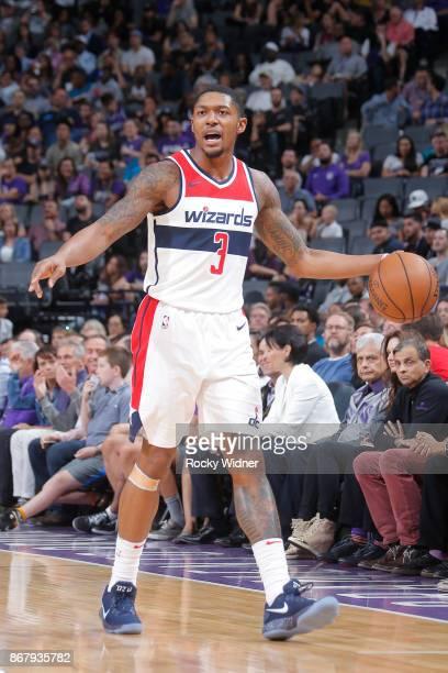 Bradley Beal of the Washington Wizards handles the ball against the Sacramento Kings on October 29 2017 at Golden 1 Center in Sacramento California...