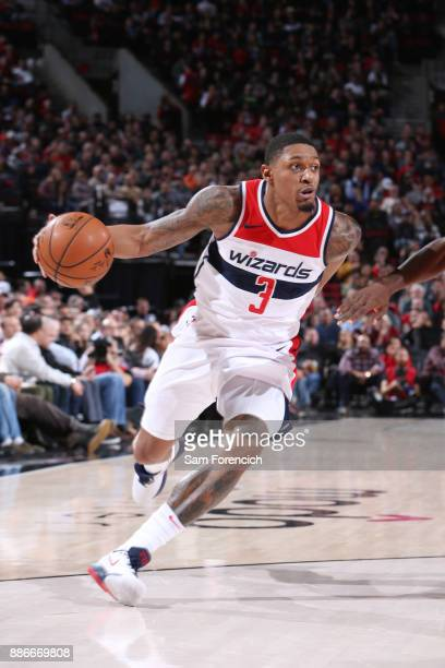 Bradley Beal of the Washington Wizards handles the ball against the Portland Trail Blazers on December 5 2017 at the Moda Center in Portland Oregon...