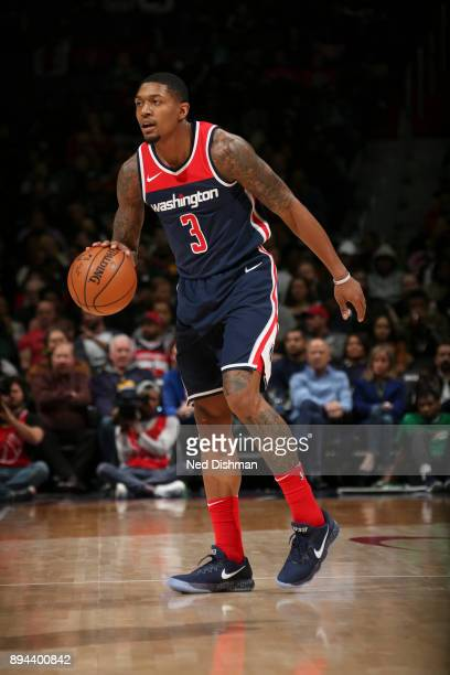 Bradley Beal of the Washington Wizards handles the ball against the Cleveland Cavaliers on December 17 2017 at Capital One Arena in Washington DC...