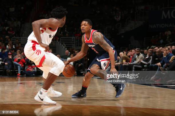 Bradley Beal of the Washington Wizards handles the ball against the Toronto Raptors on February 1 2018 at Capital One Arena in Washington DC NOTE TO...