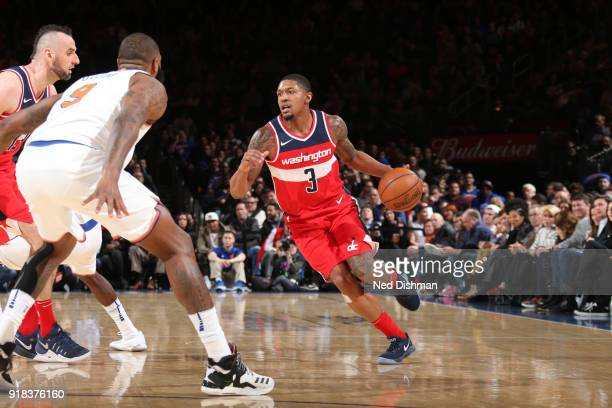 Bradley Beal of the Washington Wizards handles the ball against the New York Knicks on February 14 2018 at Madison Square Garden in New York NY NOTE...