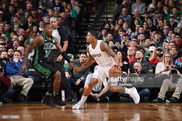 Bradley Beal of the Washington Wizards handles the ball against the Boston Celtics on March 14 2018 at the TD Garden in Boston Massachusetts NOTE TO...