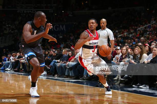 Bradley Beal of the Washington Wizards handles the ball during a game against the Orlando Magic on March 5 2017 at Verizon Center in Washington DC...