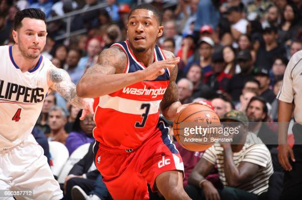 Bradley Beal of the Washington Wizards handles the ball during a game against the LA Clippers on March 29 2017 at STAPLES Center in Los Angeles...