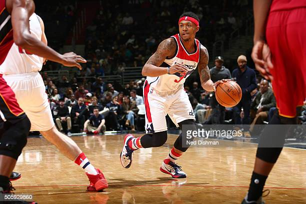 Bradley Beal of the Washington Wizards handles the ball during the game against the Miami Heat on January 20 2016 at Verizon Center in Washington DC...