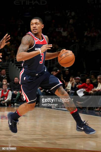 Bradley Beal of the Washington Wizards handles the ball during the game against the Milwaukee Bucks on January 6 2018 at Capital One Arena in...