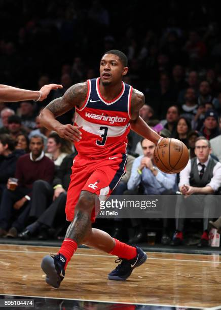 Bradley Beal of the Washington Wizards in action against the Brooklyn Nets during their game at Barclays Center on December 12 2017 in the Brooklyn...