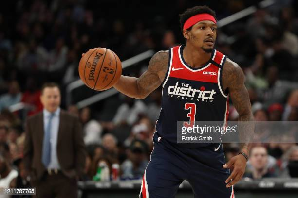 Bradley Beal of the Washington Wizards in action against the New York Knicks at Capital One Arena on March 10 2020 in Washington DC NOTE TO USER User...