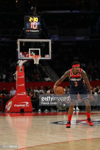 Bradley Beal of the Washington Wizards in action against the New York Knicks during the first half at Capital One Arena on March 10 2020 in...