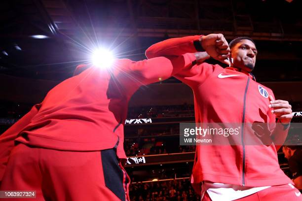 Bradley Beal of the Washington Wizards is introduced before playing against the LA Clippers during the first half at Capital One Arena on November 20...