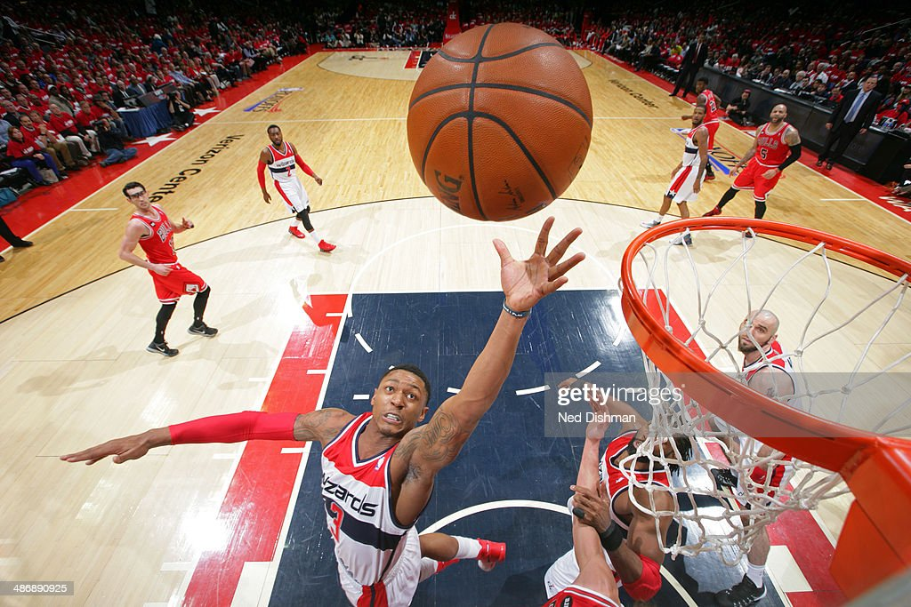 Bradley Beal #3 of the Washington Wizards jumps for the rebound against the Chicago Bulls in Game Three of the Eastern Conference Quarterfinals during the 2014 NBA Playoffs at the Verizon Center on April 25, 2014 in Washington, DC.