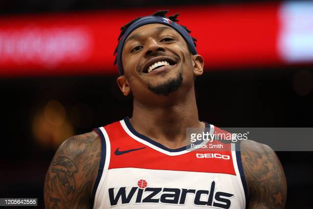 Bradley Beal of the Washington Wizards looks on against the Chicago Bulls during the second half at Capital One Arena on February 11 2020 in...