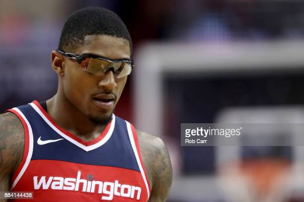 Bradley Beal of the Washington Wizards looks on against the Detroit Pistons in the first half at Capital One Arena on December 1 2017 in Washington...
