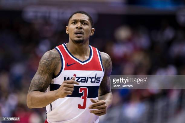 Bradley Beal of the Washington Wizards looks on against the Indiana Pacers during the second half at Capital One Arena on March 4 2018 in Washington...