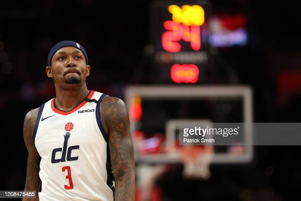 Bradley Beal of the Washington Wizards looks on against the Milwaukee Bucks during the first half at Capital One Arena on February 24 2020 in...