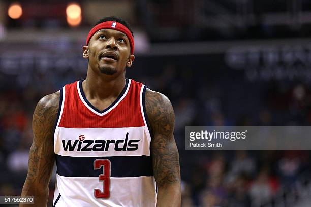Bradley Beal of the Washington Wizards looks on against the Minnesota Timberwolves during the first half at Verizon Center on March 25 2016 in...