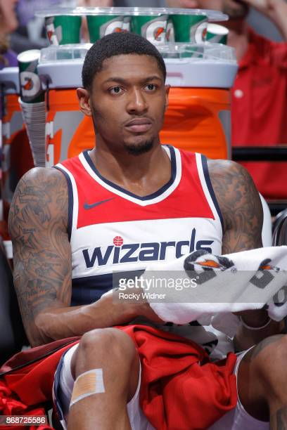 Bradley Beal of the Washington Wizards looks on during the game against the Sacramento Kings on October 29 2017 at Golden 1 Center in Sacramento...