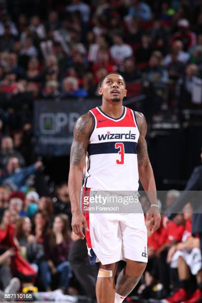 Bradley Beal of the Washington Wizards looks on during the game against the Portland Trail Blazerson December 5 2017 at the Moda Center Arena in...