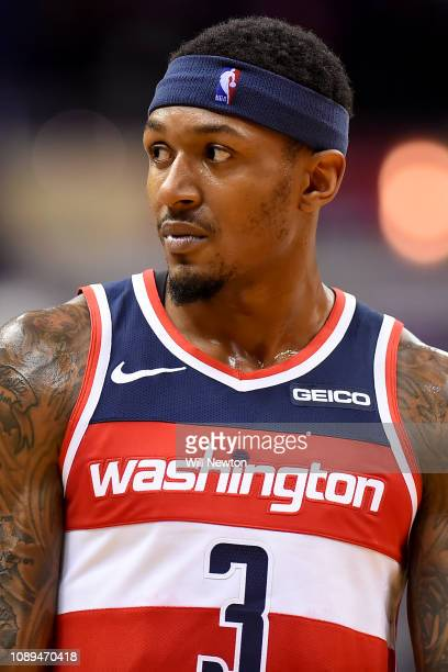 Bradley Beal of the Washington Wizards looks on during the second half against the Atlanta Hawks at Capital One Arena on January 2 2019 in Washington...