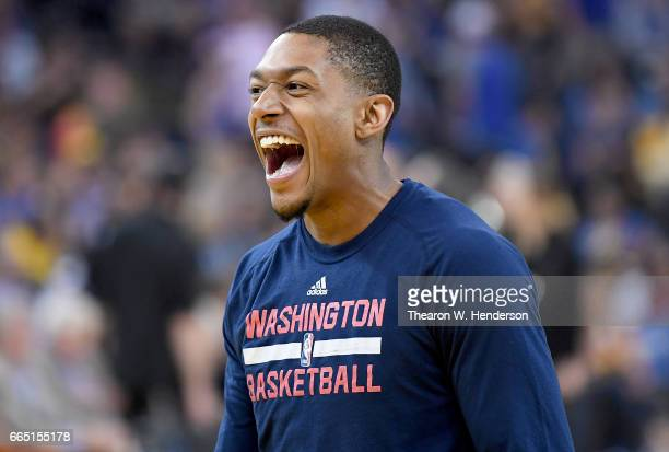 Bradley Beal of the Washington Wizards looks on laughing during warm ups prior to the start of an NBA Basketball game against the Golden State...