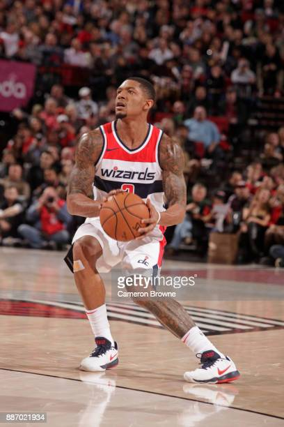 Bradley Beal of the Washington Wizards looks to shoot the ball against the Portland Trail Blazers on December 5 2017 at the Moda Center in Portland...