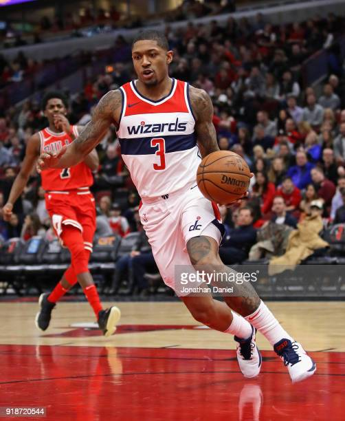 Bradley Beal of the Washington Wizards moves against the Chicago Bulls at the United Center on February 10 2018 in Chicago Illinois The Wizards...