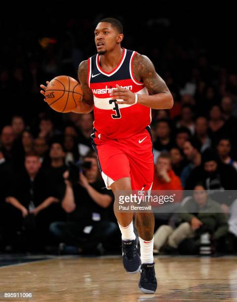 Bradley Beal of the Washington Wizards moves the ball upcourt in a preseason NBA basketball game against the New York Knicks on October 13 2017 at...