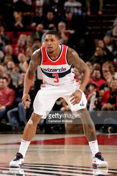 Bradley Beal of the Washington Wizards on the defense during the game against the Portland Trail Blazers on December 5 2017 at the Moda Center in...