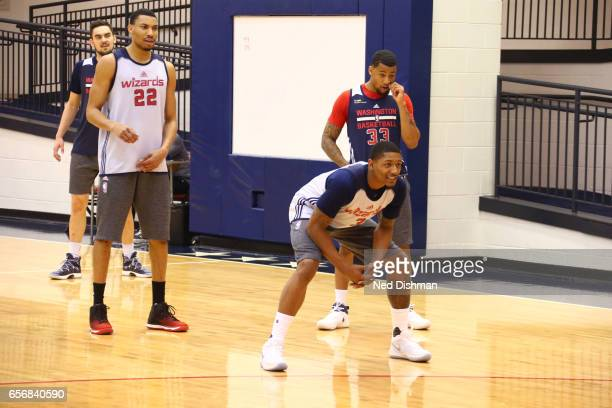 Bradley Beal of the Washington Wizards plays defense during an all-access practice at the Washington Wizards practice Facility on March 17, 2017 in...