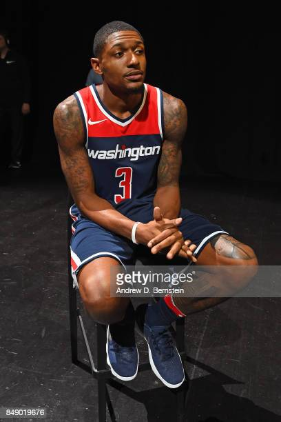 Bradley Beal of the Washington Wizards poses for a photo to help unveil the new uniforms during the Nike Innovation Summit in Los Angeles California...