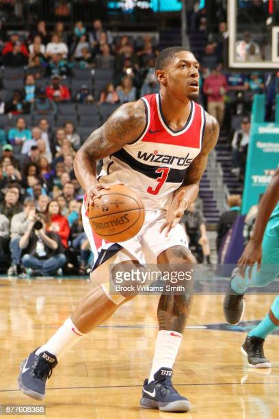 Bradley Beal of the Washington Wizards prepares to take a shot against the Charlotte Hornets on November 22 2017 at Spectrum Center in Charlotte...