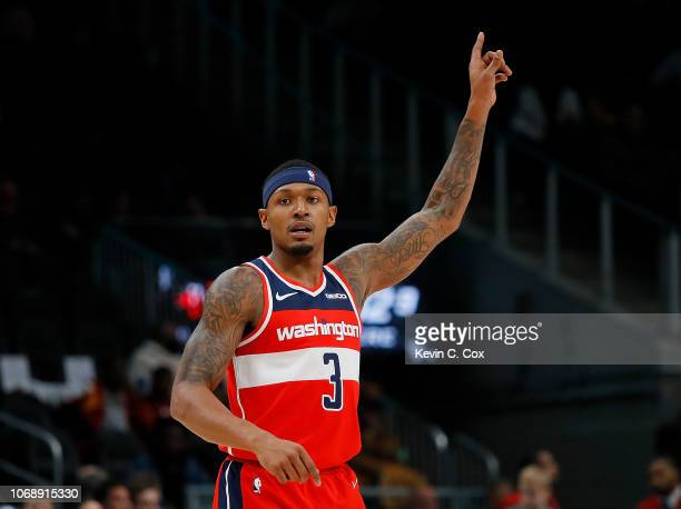 Bradley Beal of the Washington Wizards reacts after hitting a basket against the Atlanta Hawks at State Farm Arena on December 5 2018 in Atlanta...