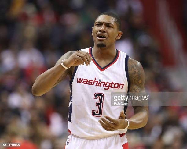 Bradley Beal of the Washington Wizards reacts against the Boston Celtics during Game Six of the NBA Eastern Conference SemiFinals at Verizon Center...