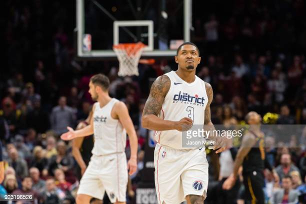 Bradley Beal of the Washington Wizards reacts during the final seconds of the second half against the Cleveland Cavaliers at Quicken Loans Arena on...