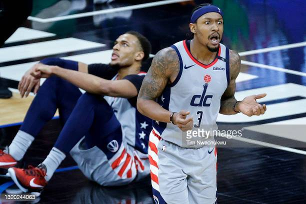 Bradley Beal of the Washington Wizards reacts to a call during the third quarter against the Philadelphia 76ers during Game Two of the Eastern...