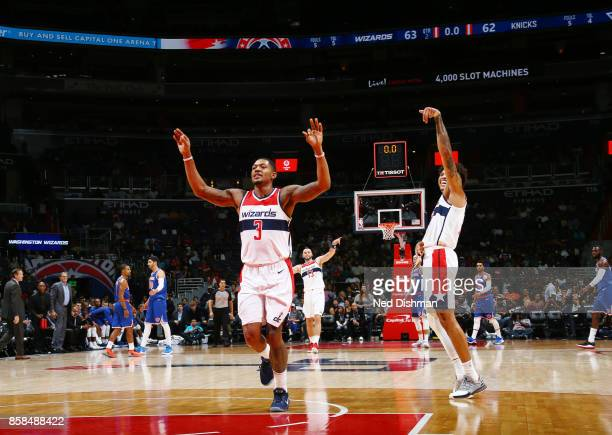 Bradley Beal of the Washington Wizards reacts to a play against the New York Knicks during the preseason game on October 6 2017 at Capital One Arena...