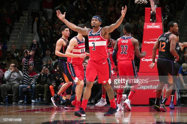 Bradley Beal of the Washington Wizards reacts to a play during the game against the Phoenix Suns on December 22 2018 at Capital One Arena in...