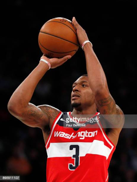 Bradley Beal of the Washington Wizards shoots in a preseason NBA basketball game against the New York Knicks on October 13 2017 at Madison Square...