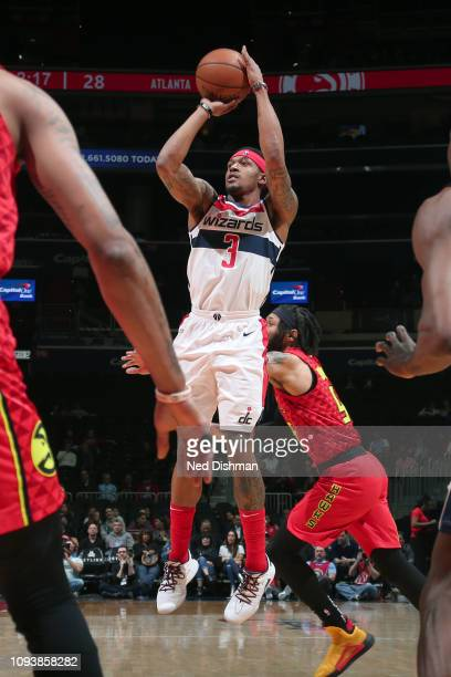 Bradley Beal of the Washington Wizards shoots the ball against the Atlanta Hawks on February 4 2019 at Capital One Arena in Washington DC NOTE TO...