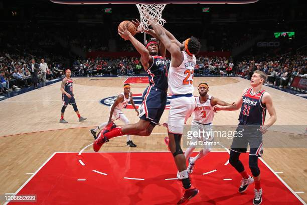 Bradley Beal of the Washington Wizards shoots the ball against the New York Knicks on March 10 2020 at Capital One Arena in Washington DC NOTE TO...