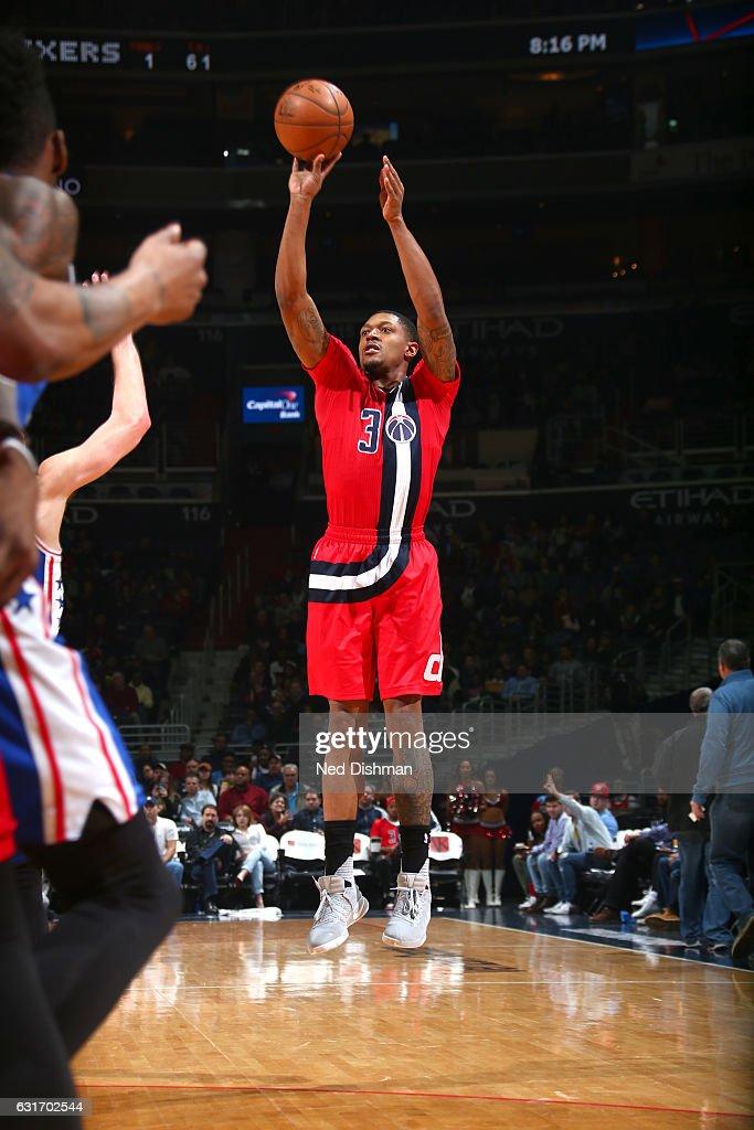 Bradley Beal #3 of the Washington Wizards shoots the ball against the Philadelphia 76ers on January 14, 2017 at Verizon Center in Washington, DC.