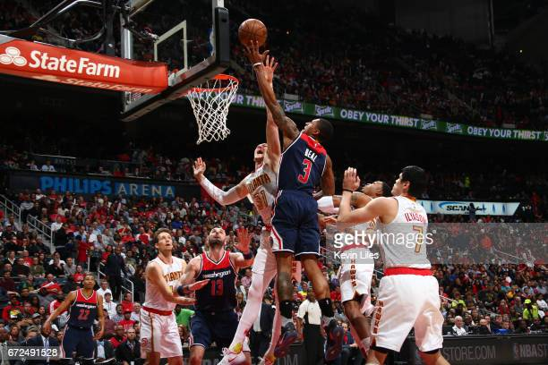 Bradley Beal of the Washington Wizards shoots the ball against the Atlanta Hawks during Game Four of the Eastern Conference Quarterfinals of the 2017...