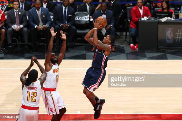Bradley Beal of the Washington Wizards shoots the ball against the Atlanta Hawks in Game Six of the Eastern Conference Quarterfinals of the 2017 NBA...