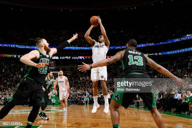 Bradley Beal of the Washington Wizards shoots the ball against the Boston Celtics on March 14 2018 at the TD Garden in Boston Massachusetts NOTE TO...
