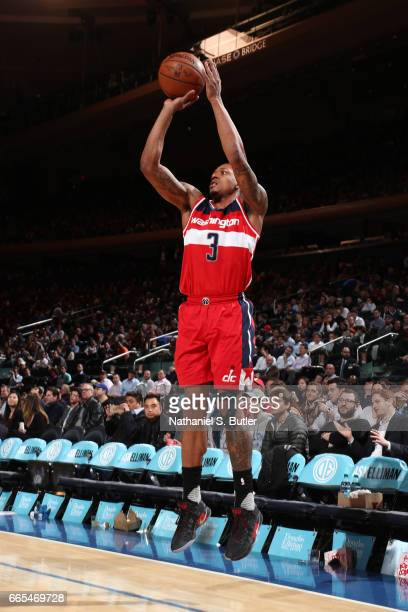 Bradley Beal of the Washington Wizards shoots the ball during a game against the New York Knicks on April 6 2017 at Madison Square Garden in New York...