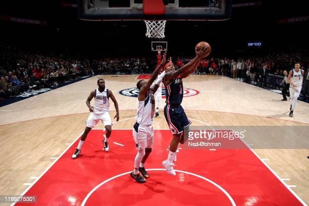 Bradley Beal of the Washington Wizards shoots the gamewinning shot against the Dallas Mavericks on February 07 2020 at Capital One Arena in...