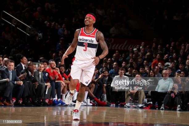 Bradley Beal of the Washington Wizards smiles against the New York Knicks on April 7 2019 at Madison Square Garden in New York City New York NOTE TO...